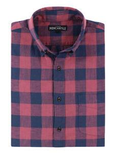 J-Crew-Mercantile-Men-039-s-L-Slim-Fit-Red-Navy-Buffalo-Plaid-Flex-Cotton-Shirt
