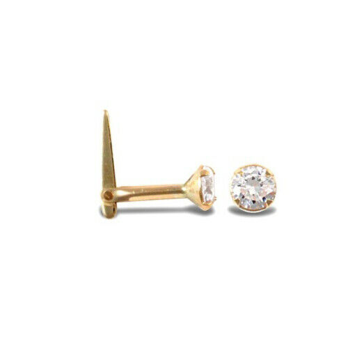 9ct Yellow Gold 3mm White Stone Hinged Nose Stud