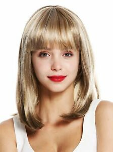 Wig-Ladies-Shoulder-Length-Smooth-Fringe-Blonde-Mix-Dark-Light-Strands