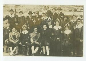 Vintage-RPPC-Group-Photo-Spanish-Medieval-Dressed-Men-amp-Children-Actors