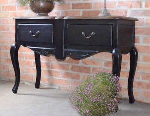 Table Console Avec Tiroir Noir Noire Bois Style Vintage Ancien ...