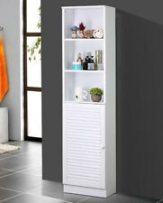 Tall Bathroom Tower Shelves Cabinet With Louvered Door Organizer Storage ,White
