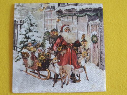 5 Servietten Weihnachtsmann Schlitten Stadt 1//4 Serviettentechnik Weihnachten