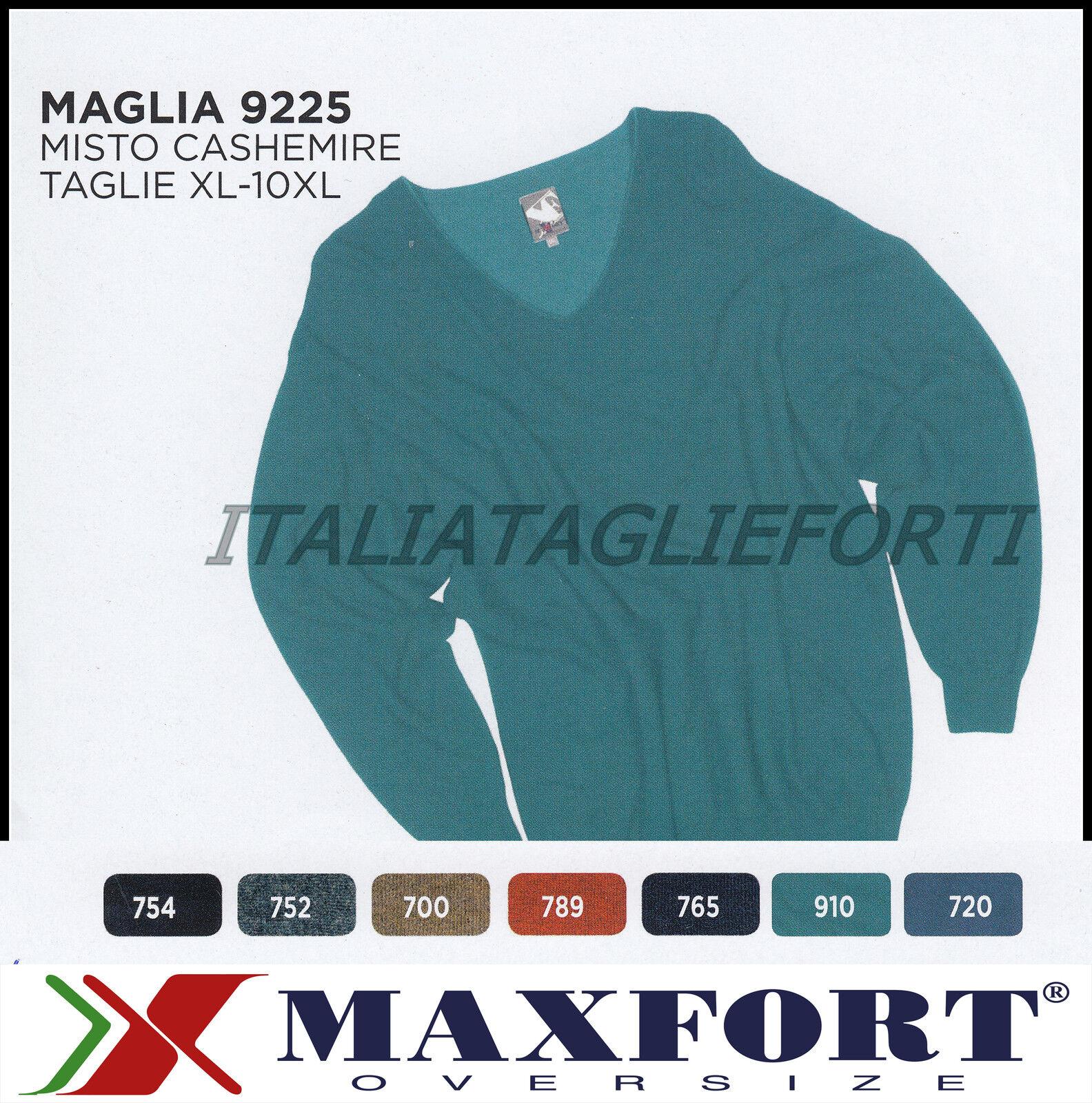 MAXFORT 9225 MAGLIA MAGLIONE CASHEMIRE COLLO V UOMO TAGLIE FORTI XL 10XL POLO