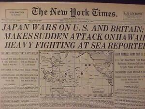 VINTAGE-NEWSPAPER-HEADLINE-WORLD-WAR-2-JAPAN-PLANES-ATTACK-US-BOMB-HAWAII-WWII