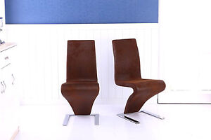 2 x brown dining room chair z shape modern lounge faux for Z shaped dining room chairs