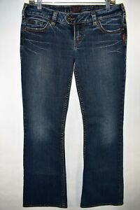 Silver-Jeans-Tuesday-Women-039-s-Bootcut-Jeans-Tag-30x33-Stretch-Meas-31x32-Dark