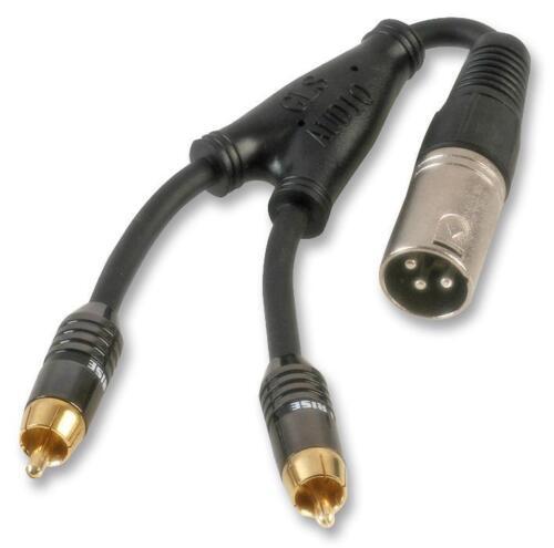 XLR 3 PIN Plug to 2 x Phonos RCA Male Cable Adaptor 25cm Stage Lighting Pro AV