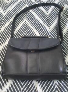 JOAN-WEISZ-Black-Leather-Shoulder-Crossbody-Bag-Handbag