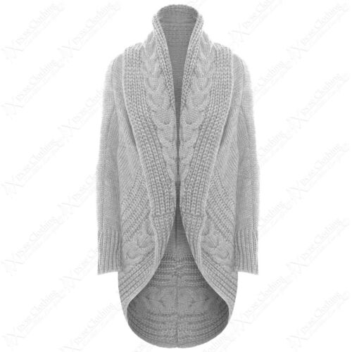 New Femme Open Cardigan Chunky Cable Knit Throw OVER Look Femme Cardi Veste