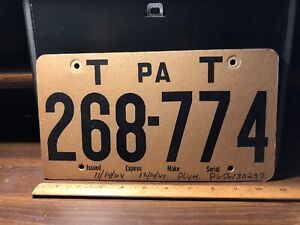 Vintage-1964-PA-PENNSYLVANIA-TEMPORARY-LICENSE-PLATE-CARDBOARD-Plym