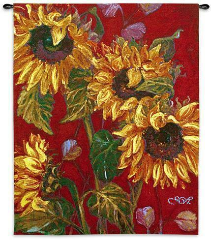 Sunflowers II Floral Still Life Modern Wall Tapestry