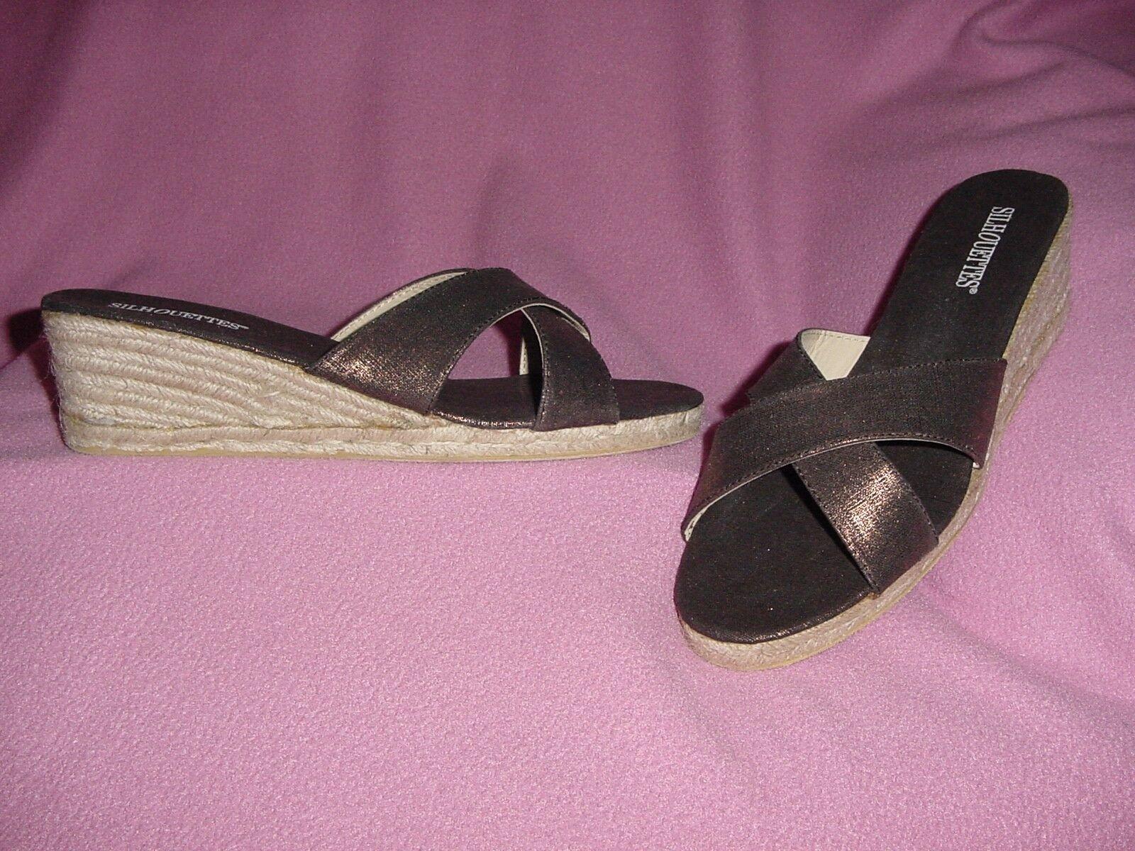 Metallic Bronze Sandal Wedge Slide Sandal Bronze by Silhouettes 11M d7335a