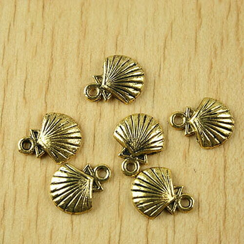40pcs Dark Gold-Tone Shell Charms Findings h2027