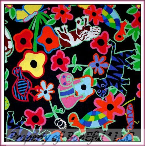 BonEful Fabric FQ Cotton Quilt Black Rainbow Pig Dog Cat Bird Turtle Bird Flower