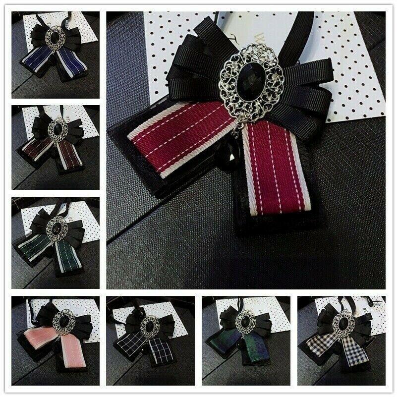Lady Crystal Bow Tie Bowknot Uniform Ribbon Stripe Check Necktie Rhinestone Chic