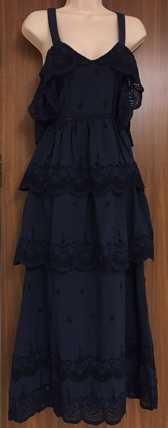 SELF-PORTRAIT Tiered Broderie Anglaise-Trimmed Crepe Dress Size