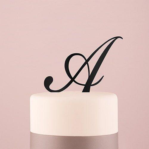 Script Monogram Acrylic Cake Topper in Black Single Letter M
