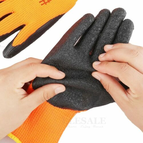 12 Pairs Thermal Orange Black Latex Coated Cold Safety Winter Gloves M L XL Size