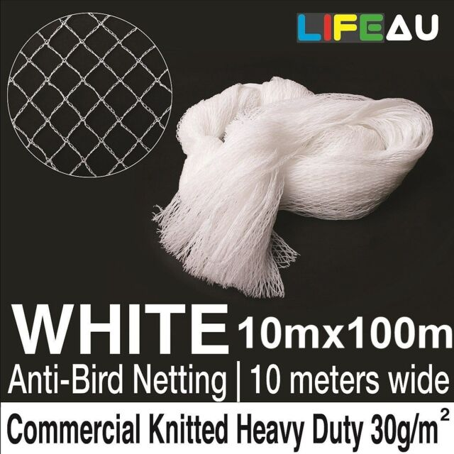 10 x 100M WHITE Knitted Anti Bird Netting Commercial Pest Net 15x15mm