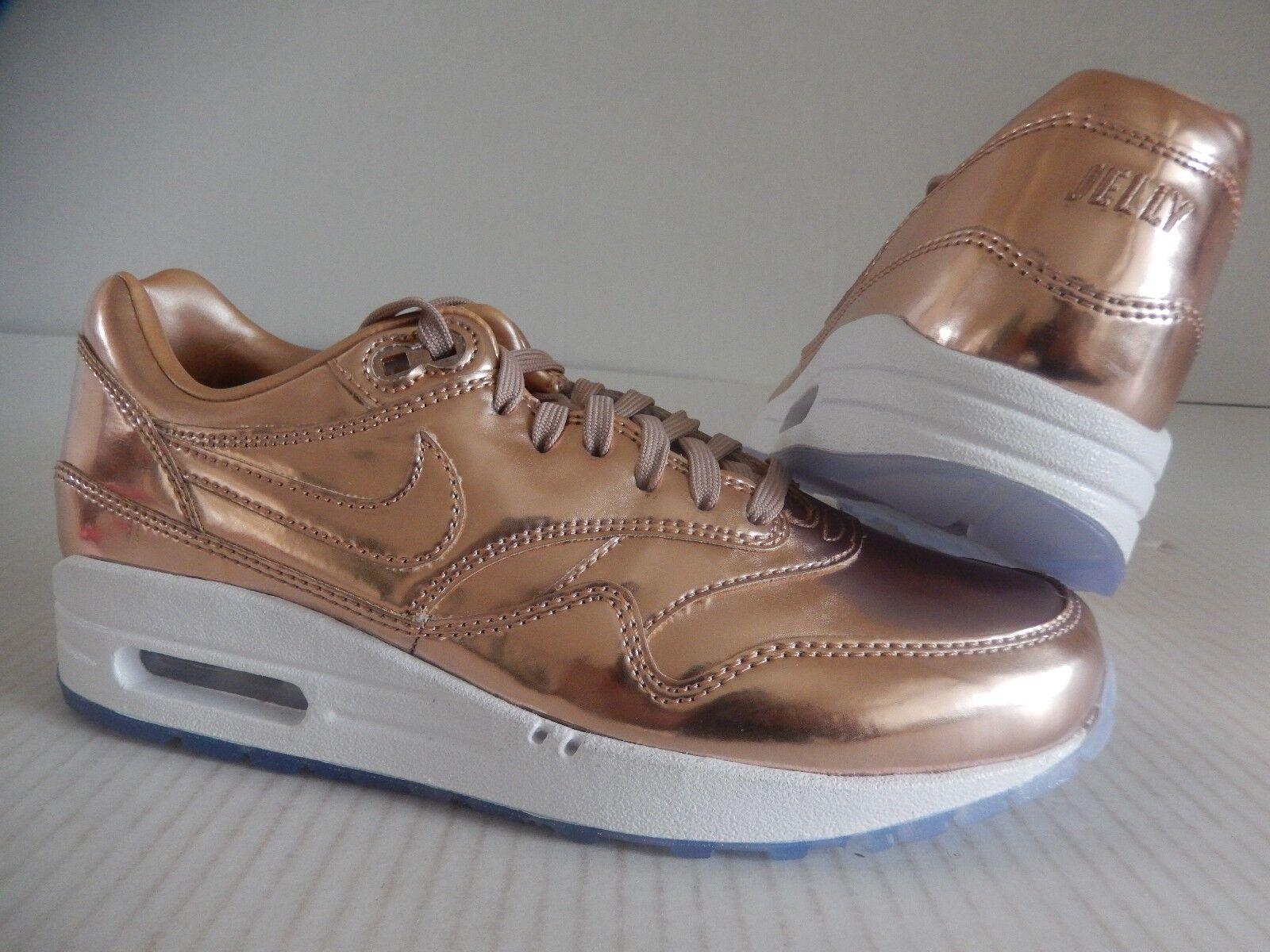 Nike Women Air Max 1 ID Premium Liquid Rose Gold White SZ 10 [829358 991]