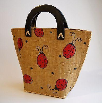 Ladybug Raffia Painted Handbag Purse Tote Brown Red Double Handles Fabric Lined