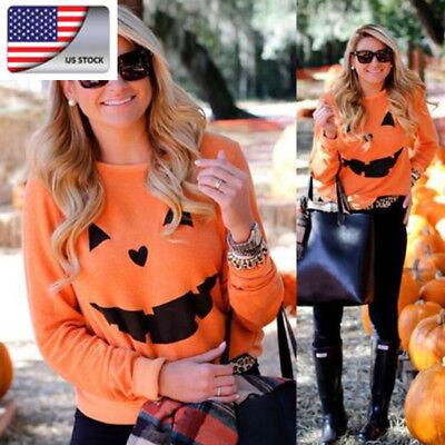 US Orange Women Halloween Party Pumpkin Sweater Long Sleeve Pullover Hoodies Top