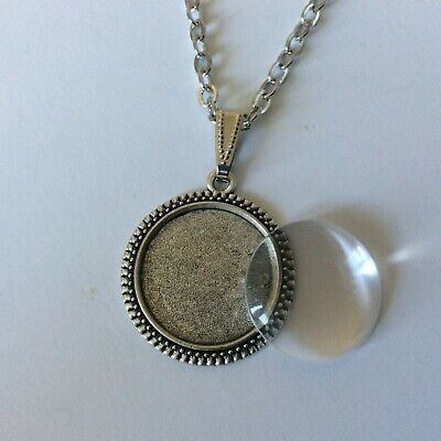 Silver Tear Drop Cabochon Setting Glass and chain make your own neckace kit 25mm