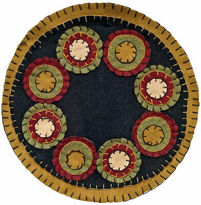 New Primitive Red Green Navy Tan PENNY STITCHED CANDLE MAT Yo Yo Homespun Doily