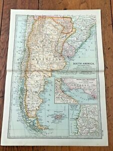 """1903 large colour fold out map titled """" south america - southern part """""""