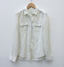Country Road Ivory Cream Blouse Shirt Size L Classic Long Sleeve Crinkle Cotton