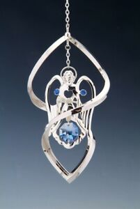 AngelFIGURINE-SPIRAL-ORNAMENT-SILVER-PLATED-WITH-AUSTRIAN-BLUE-CRYSTALS