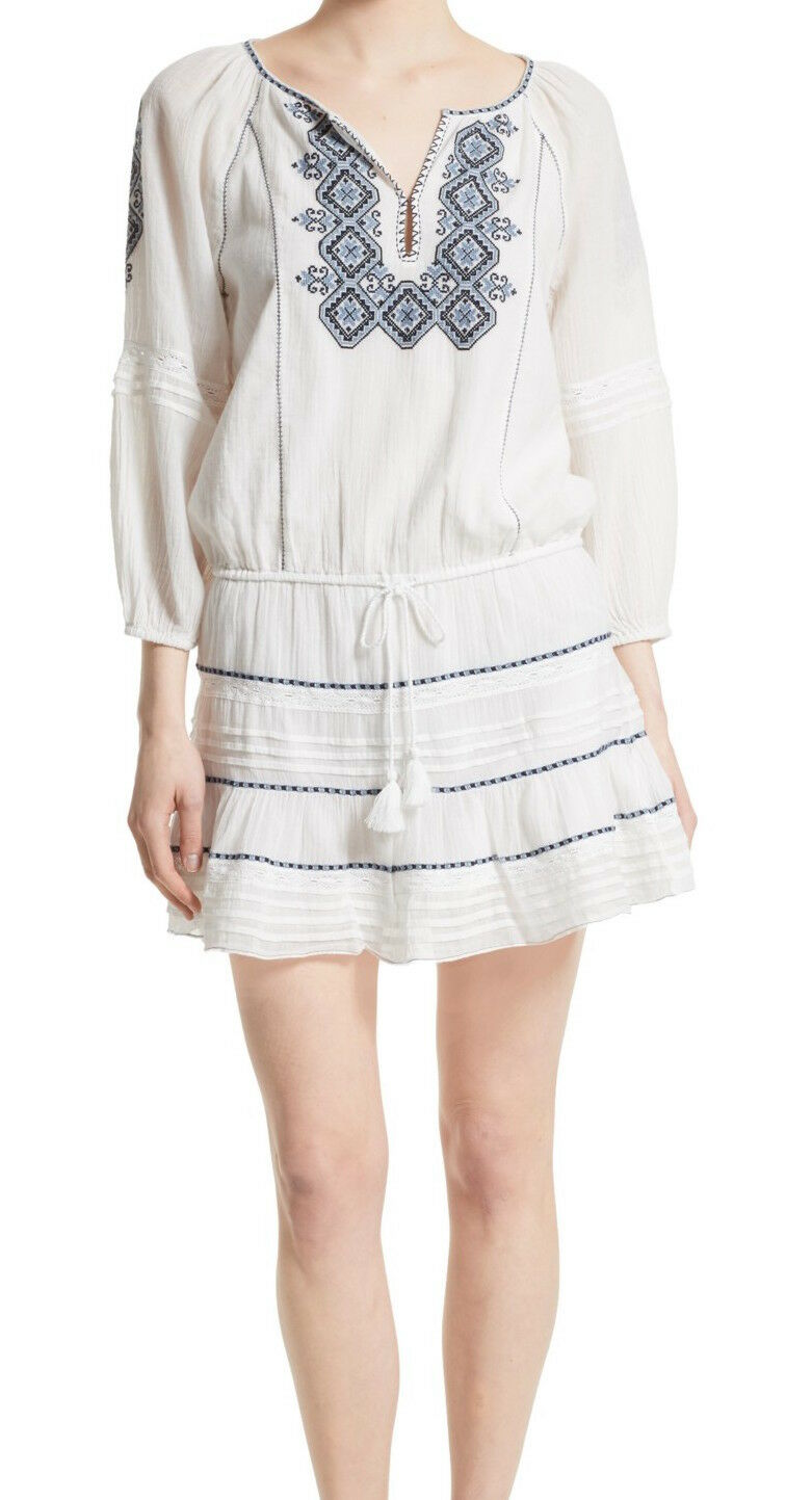 Joie Women's Sid Embroidered Peasant Dress, 1880-D2723, Porcelain, Size Size Size S babfc8