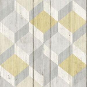 Papier Peint Forme Geometrique.Details Sur Effet Bois 3d Cube Papier Peint Forme Geometrique Bois Planches Copenhague Jaune Afficher Le Titre D Origine