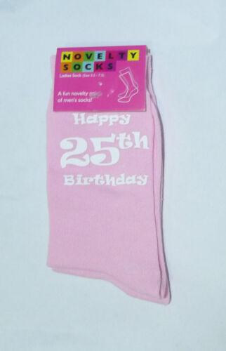 HAPPY venticinquesimo compleanno design stampato Donna Calze Rosa Grande venticinquesimo compleanno regalo