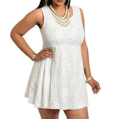 PD9 -1XL 2XL 3XL Junior Plus Sleeveless Lace Short Mini Babydoll Dress Top Ivory