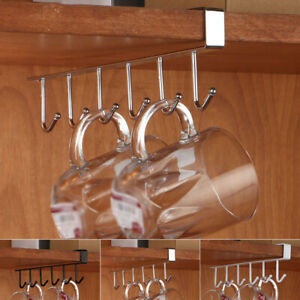 Iron Under Shelf Coffee Cup Mug Holder Hanger Storage Rack