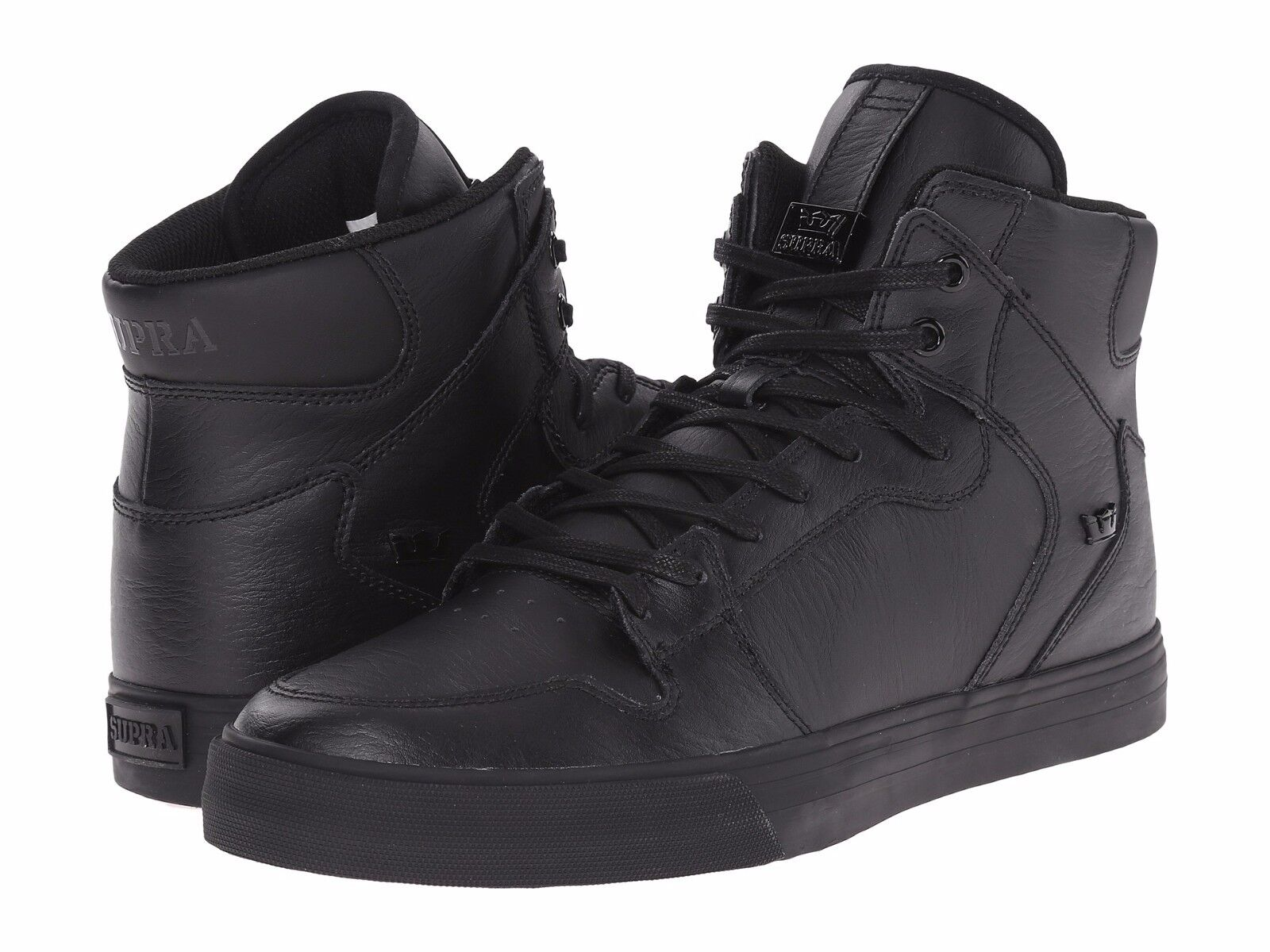 NEW SUPRA VAIDER BLACK BLACK LEATHER 08201-081 HIP HOP SKATEBOARDING SHOES 11.5
