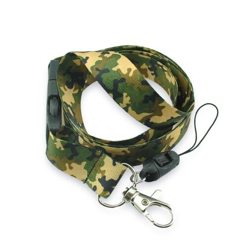Brand New Green Brown Army Camouflage Pattern Lanyard Keychain Doc Holder