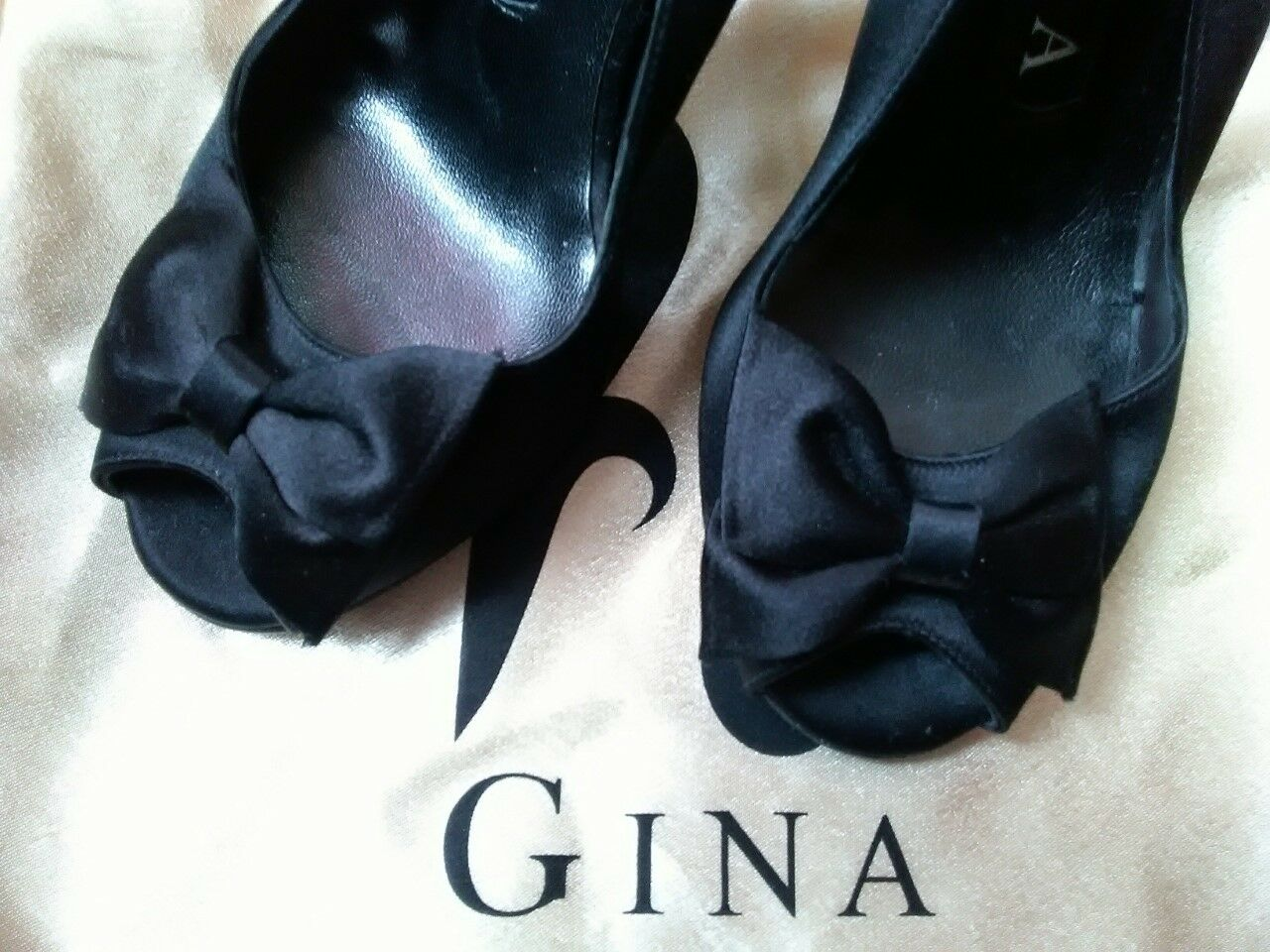 Gina Black Satin shoes -  Size 36.5 3.5