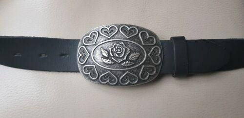 UMJUBELT silber XL Gürtelschnalle Gürtelschließe Buckle Herz Rose 9,5x7cm