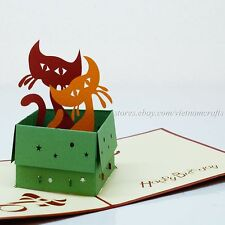3D Birthday Pop up Card, Popup Birthday Card, Kitty Cat Pop up Cards, Kirigami!