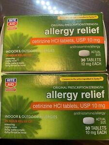2 X Rite Aid Allergy Relief Cetirizine Hci Tablets Usp 10