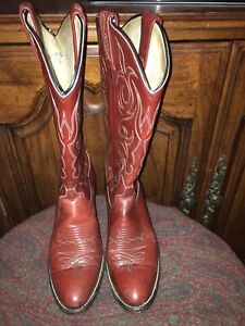 16ae391a989 Details about DAN POST BROWN COWBOY BOOTS WOMENS SIZE 7C