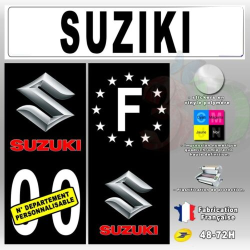 "Stickers Plaque d/'immatriculation /""Suziki/"" Auto-moto Fond Noir"