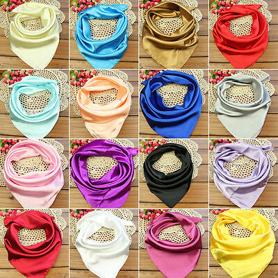 Women Silk Square Scarf Small Plain Neckerchief Head Neck Warp Scarves Headband