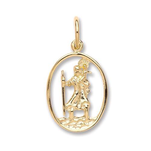 9carat Yellow Gold Rectangular Cut Out St Christopher Medallion Pendant Wt 1.3g