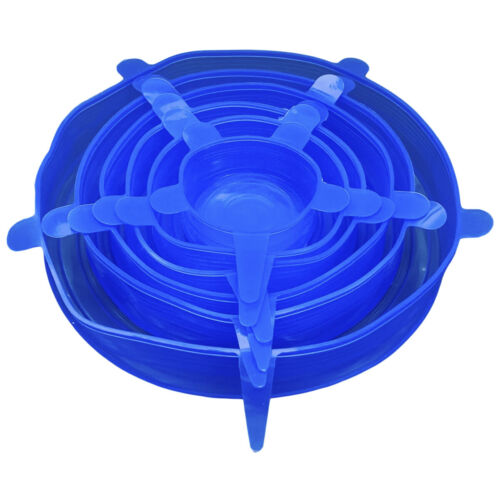 Reusable Silicone Stretch Lids Multi Size Seal Lids Eco-Friendly Stretch 6 Pack