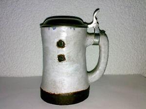 Bierkrug-Stein-Mug-CERAMANO-Domino-Halbekrug-WGP-Mid-Century-Foam-Glaze-60s-70s