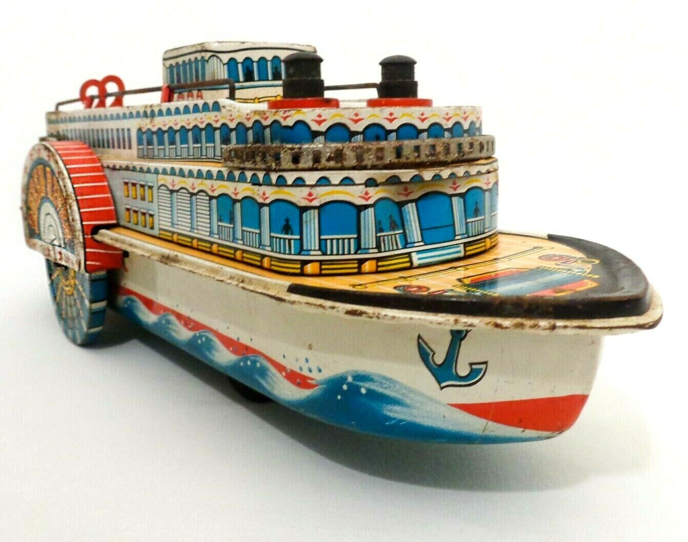 QUEEN RIVER VINT LITHO'D TIN SIDEWHEELER RIVER BOAT MODERN TOYS (JAPAN) BAT. OP.